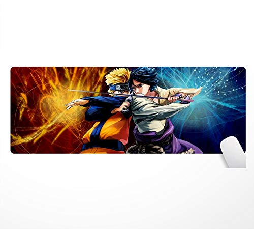 Naruto - Alfombrilla de ratón (800 x 300 mm, superficie de goma antideslizante, apta para jugadores)