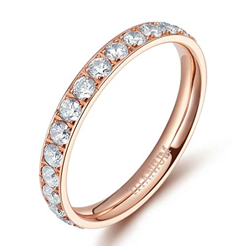 TIGRADE Womens Titanium Eternity Rings Cubic Zirconia Wedding Engagement Band-ROSE GOLD, SIZE 8