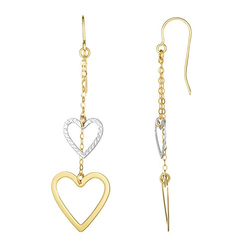 Finejewelers 10 Kt White Gold Bright Cut Open Heart Double Strand Drop Earring with Euro-wire