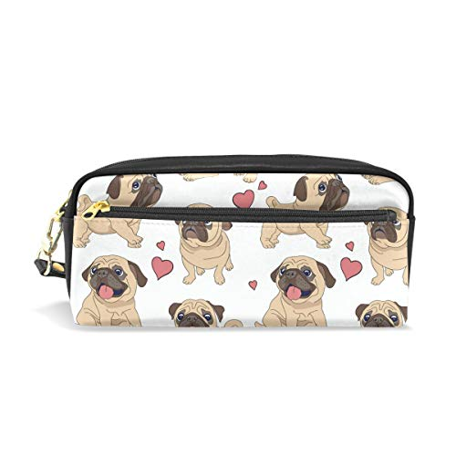 Students Pencil Case Pouch Funny Pugs Dog Pink Love Heart PU Leatehr Organizer Pen Holder Box Women Purse Wallet Waterproof Large Capacity Hand Mini Cosmetic Makeup Bag
