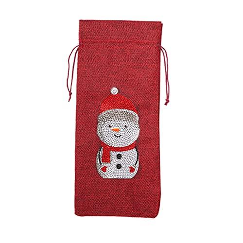 ANTKING Pintura de diamante Navidad botella de vino cubierta especial taladro DIY Merry Christmas Drawstring bolsa kits Santa Claus vacaciones mesa decoraciones Año Nuevo ornamento regalo