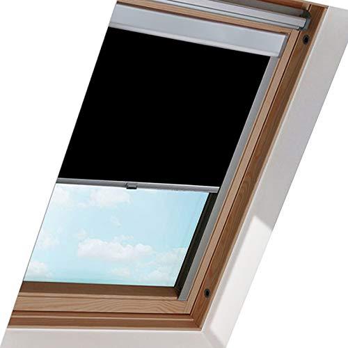 Verdunkelungsrollo M06 für Dachfenster, Hochqualitative Wertarbeit Stoff, Schwarz 61.3 * 94cm, Thermo-Rollo