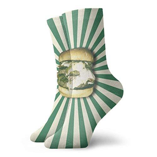 Love girl Walking Socks Pack Grüne Hamburger Muster Lustige Socken Polyester Athletic Crew Socken Für Männer Frauen 30cm