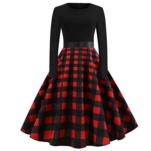 Damen Swing Kleider,Vintage Faltenrock Party Abend Abiballkleider Cocktailkleid A Line Kleid beiläufige Druck Etuikleid(I_v,EU:38)