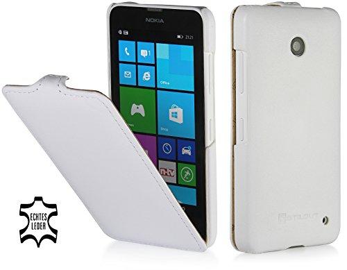 StilGut UltraSlim Hülle, Tasche aus Leder kompatibel mit Nokia Lumia 630/630 Dual SIM, weiß Vintage