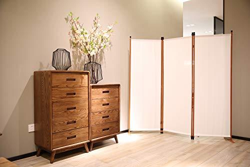 Angel Living Biombo Separador de Habitación de 3 Paneles, Decoración Elegante, Separador de Ambientes Plegable, Divisor de Habitaciones, para el Hogar, 169X165 cm (Blanco)