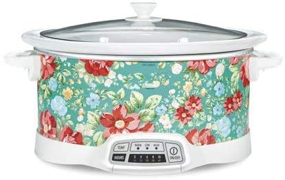 COLIBYOU Bring Cheerful and Charming Style to Your Countertop with Beautiful and Stylish 7 Quart Programmable Slow Cooker Vintage Floral,Great Addition to Your Kitchen
