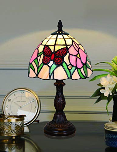 Lámpara de mesa Tiffany Red Butterfly de 8 pulgadas Lámpara de mesita de noche hecha a mano de cristal de flor