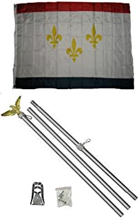 ALBATROS 3 ft x 5 ft City of New Orleans Louisiana Flag Aluminum with Pole Kit Set for Home and Parades, Official Party, All Weather Indoors Outdoors