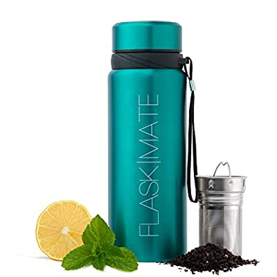 25 oz Multi-Function Travel Mug with Loose Leaf Tea Infuser & - Hot & Cold Coffee Tumbler - Insulated Fruit Infused Water Bottle - Double Wall Stainless Steel Thermos - Leak Proof Lid (Blue)