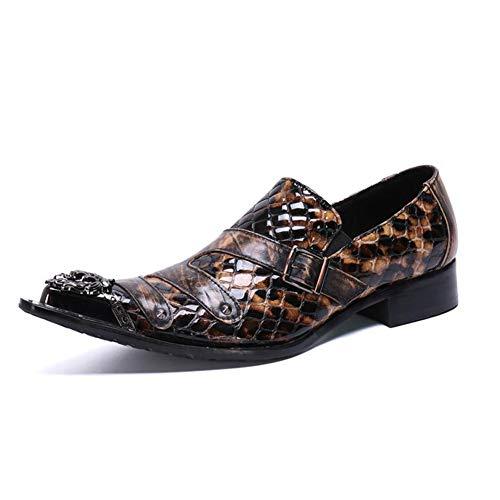 BJ&HH Krokodilleder Herrenschuhe, Business-Casual-Schuhe, Spitzen Low-Cut-FüßE Atmungsaktive Einzelschuhe Flut Schuhe 37-46,Gelb,EU38/UK5.5