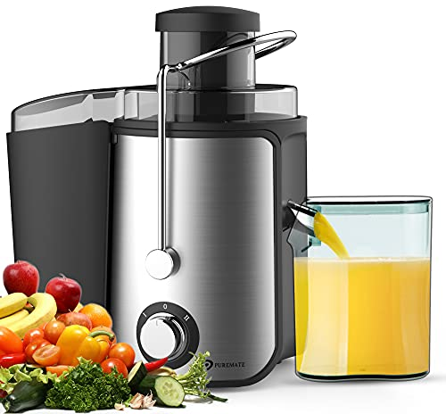 PureMate Juicer Machines, 600W Whole Fruit and Vegetable Juice Extractor, Centrifugal Juicer Machine, Stainless Steel Juicer with Two Speed Settings, BPA-Free, Easy Clean [Energy Class A+++]