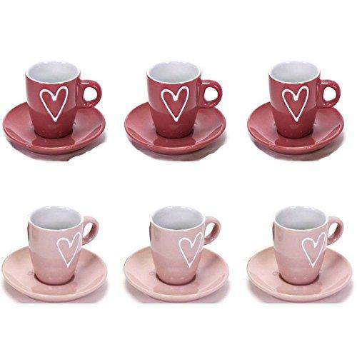 6 x Espressotassen mit Untertassen oder Müslischalen oder Kaffetassen stilvoll farblich abgesetzt mit Herz (6 x Espressotassen/Unterteller hellrosa + altrosa)