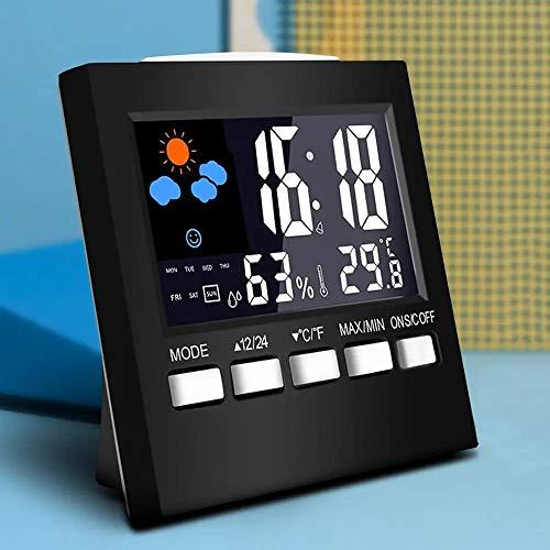 Lpinvin Sveglia Digital LCD termometro di Temperatura del Tester di umidità in Camera Orologio Interno Design Semplice Comodino Orologio (Colore : Black, Size : One Size)