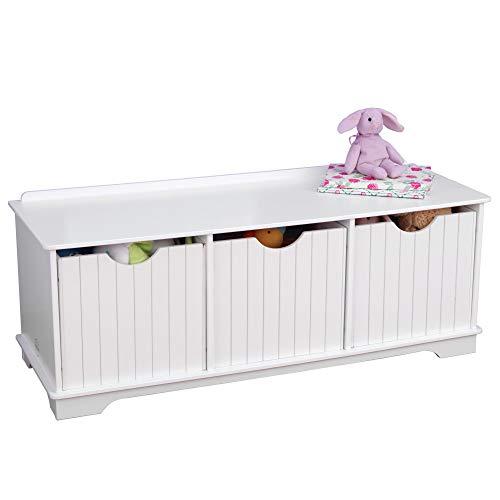 KidKraft Nantucket Banco de Madera con 3 cajones/contenedores/cestas de Almacenamiento, Muebles de Dormitorio para niños, Blanco, 100 x 36 x 39 cm