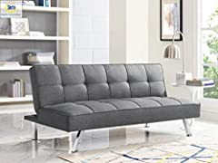 Perfectly sized for small spaces and the simple yet unique contemporary design lends a relaxed and sophisticated look. Upholstered in quality polyester fabric with Modern design Multi-Fuctions Living Room Sofa easy converts from sitting to lounging a...