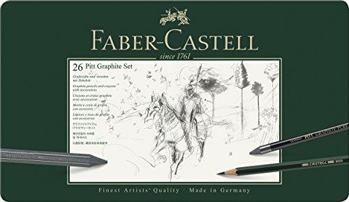 Faber-Castell 112974 - Estuche de metal con 3 ecolápices acuarelables, 9 grafitos 9000, 3...