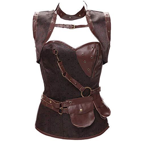 Heqianqian Corsé gótico Steampunk de acero con cintura deshuesada para mujer, chaleco transpirable (color: plata, talla: XXXXL)