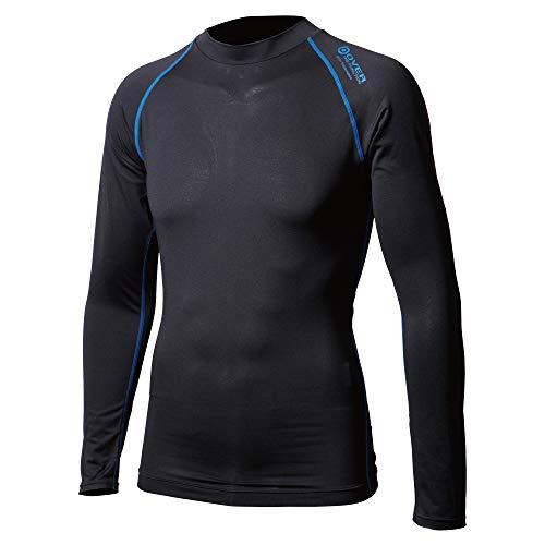 おたふく手袋 ボディタフネス アウトラスト 長袖 クルーネックシャツ オールシーズン対応 メンズ JW-540 ブラック×ブルー L