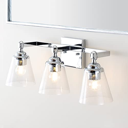 JONATHAN Y JYL7434A Marion 21' 3 Hurricane Metal/Glass Vanity Light Contemporary,Transitional 2700K LED 4W Bulbs, Reversible, for Bedroom Livingroom Bathroom Hallway, Chrome/Clear