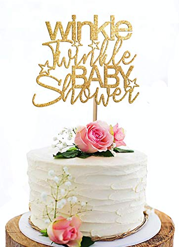 KISKISTONITE Personalized Winkle Twinkle Baby Shower Cake Topper - Unique Glitter cardstock Cake Topper for Kids Baby Shower Boy & Girl Birthday Party Decoration