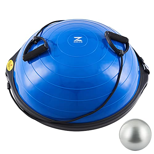 Z ZELUS 64cm Balance Ball | 680kg Inflatable Half Exercise Ball Wobble Board Balance Trainer w Nonslip Base | Half Yoga Ball Strength Training Equipment w 2 Bands, Pump, Extra Ball Included (Blue)