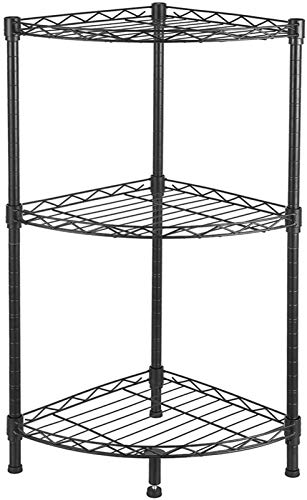 yxx Wandregale 3-Tier Corner Wire Shelving Utility Storage Organizer Regalständer for Küche Wohnzimmer Badezimmer