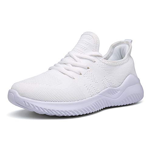 PAMRAY Damen Turnschuhe Laufschuhe Atmungsaktiv Sportschuhe Running Sneaker Leichtgewichts Weiss 38 EU