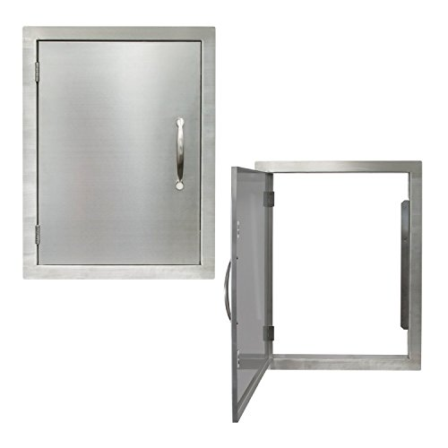 "Houseables Door Stainless Steel, Grill Doors, Vertical, Outer: 20""x27"" Single, Inner: 17""x24"", Commercial Grade, BBQ Access, Outdoor Kitchen Accessories, Grills Cabinet, Flush Mount, Chrome Handle"