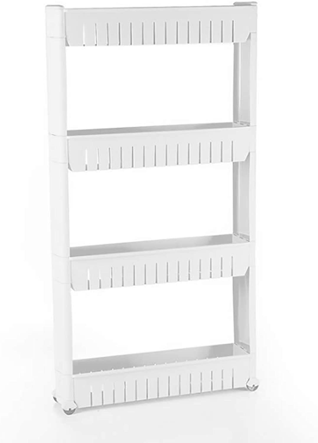 Kitchen Shelf, Bathroom Shelf, Floor Shelf, Multi-Purpose Trolley with Castors, White 3-Layer Storage Shelf 4-Layer Storage Shelf,L