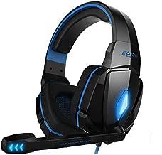 5SEACH® 7.1 Surround Flash Led Light 3.5mm Multimedia Pro PC Gaming Headphones Headset w/ Microphone,Black & Blue