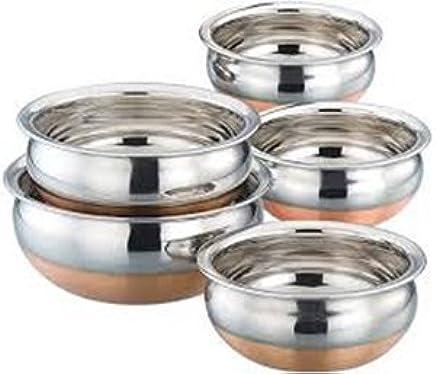 Mayur Exports Stainless Steel Copper Bottom Handi - Set of 5