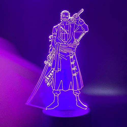 Nur 1 Stück Einteilige USB-LED-Nachtlichtlampe Cartoon Roronoa Zoro Acryl für Raumdekoration Nachtlicht Geschenk für Kinder 3D-Lampe