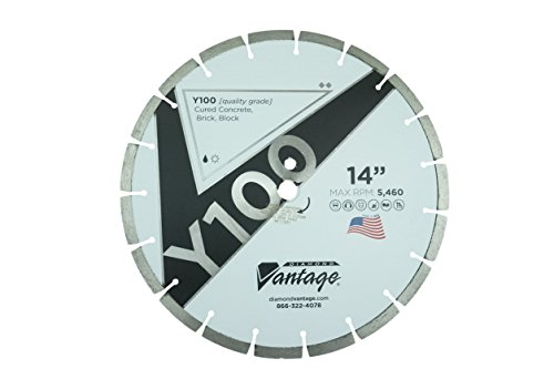 "USA Made 14 Inch Diamond Concrete/Masonry Blade, Laser Welded Diamond Segments, 1""/20mm Arbor. 12mm Segment Height. General Purpose Blade for Cured Concrete, Masonry, and Stone. Wet/Dry Cut."