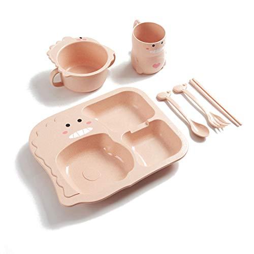 LOKKSI - Juego de vajilla de silicona para niños, diseño de dinosaurios, color verde 6