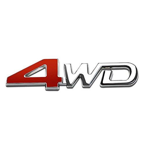 UrMarketOutlet 4WD Red/Chrome Aluminum Alloy Auto Trunk Door Fender Bumper Badge Decal Emblem Adhesive Tape Sticker