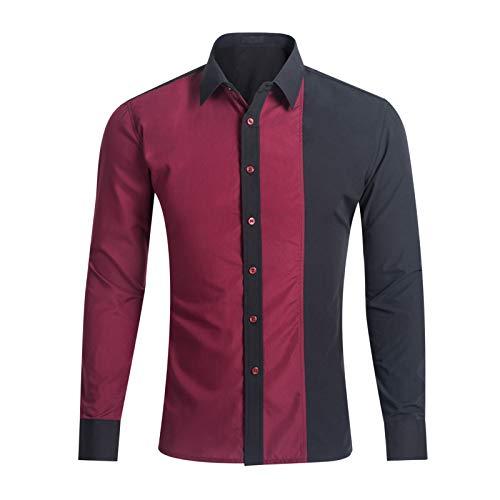 Camisas para Hombres, Camisa Casual Elegante para Hombres con Bloqueo de Color, Botones completos de Manga Larga, Camisetas Transpirables para Hombres