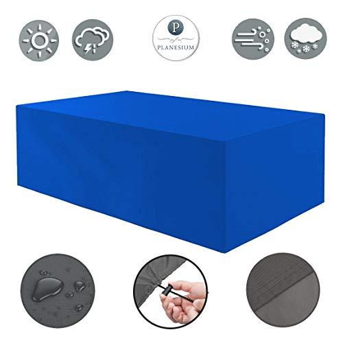 Planesium Premium tuintafel tuinmeubelen hoes afdekking beschermhoes kap afdekzeil garnituur 480 g/m Breite 300cm x Tiefe 220cm x Höhe 90cm blauw