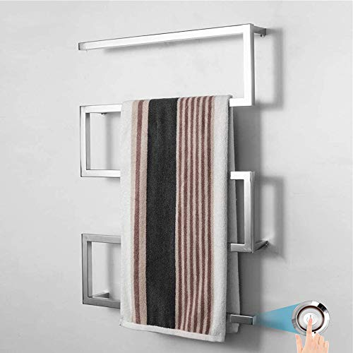 Verwarmde handdoekradiator voor Badkamers Wall Mounted, Elektrische Handdoek Warmer met LED Schakelaar voor Badkamer, hard-wired en Plug-in optie, Polijsten,Hardwired