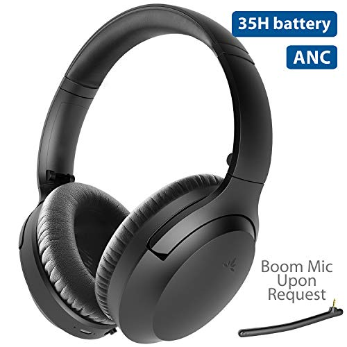 [2020] Avantree Aria - Active Noise Cancelling Bluetooth Headphones, Good Sound, Comfortable, Extra Detachable Microphone, Replaceable Spacious Ear Pads, 35H, Wired & Wireless, ANC Over Ear Headset