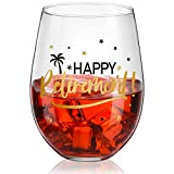 Happy Retirement Stemless Wine Glass, Black and Gold Happy Retirement Crystal Cup Wine Glass Present for Women Man Friend Retirement Party Decorations Favor, 17 oz Stemless