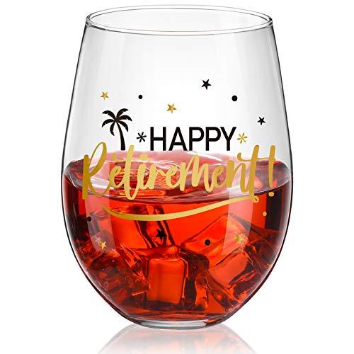 Copa de Vino sin Tallo Happy Retirement, Copa de Cristal de Happy Retirement Negra y Dorada para Decoración de Fiesta de Jubilación de Mujer, Hombre, Amigo, 17 oz sin Tallo