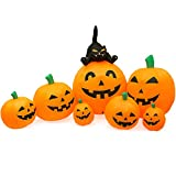 joybest Halloween Inflatable Decoration 8 FT Long Inflatable 7 Pumpkins Patch Lanterns with Black Cat with Build-in LEDs Blow Up Inflatables for Halloween Tress Party Outdoor Garden Lawn Yard Decor