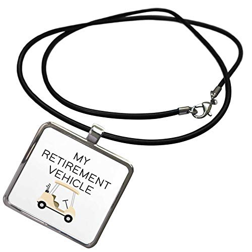 3dRose Stamp City - Typography - My Retirement Vehicle with Golf cart. Black on White Background. - Necklace with Rectangle Pendant (ncl_323421_1)