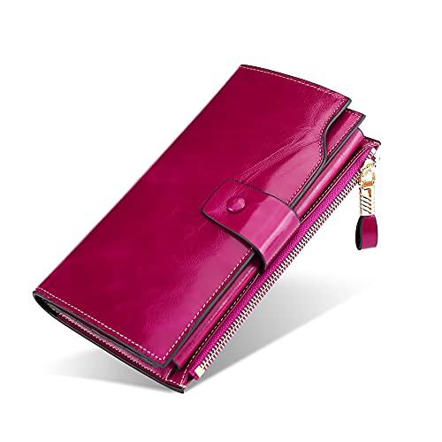 FORRICA Mujer Cartera Cuero Genuino Billetera RFID Bloqueo Cremallera Monedero Larga Portamonedas Gran Capacidad Móvil Cartera para Tarjetas Púrpura