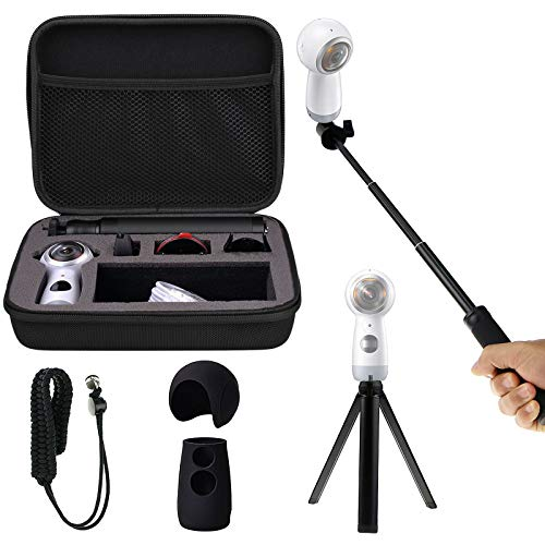 Shockproof Protective Carrying Case, Selfie Stick Monopod, Mini Tripod Stand, Soft Silicone Skin, Wrist Strap for Samsung Gear 360 2017, EEEKit All in One Accessory Kit (All in 1 Kit for 2017 Edition)