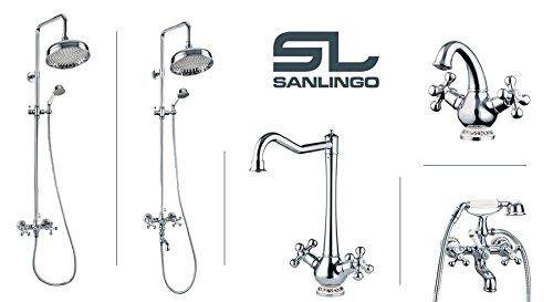 Sanlingo – Waschtischarmatur, Zweigriff, Kreuzgriff, Chrom, Serie CALA - 3