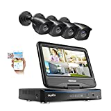True All-in-One Wired Security Camera System with Built-in 10.1' LCD Monitor,SANNCE 4CH 1080P Surveillance DVR Recorder with 4Pcs Metal 100ft Night Vision Cameras, Easy Remote Access (No HDD Included)