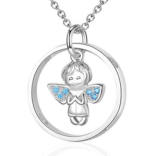 Schutzengel Kette Mädchen Echt Silber 925 Taufgeschenke Anhänger Jungen,Engel Halskette Kette Damen Valentinstag Geschenke für Frauen Kinder