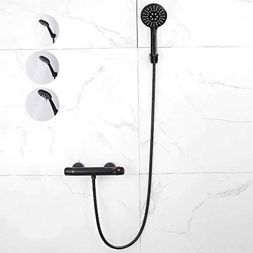 Termostato de ducha, grifo mezclador de pared, color negro mate, con ducha de mano, termostato de ducha con botón de seguridad de 38 °C y conector G 1/2